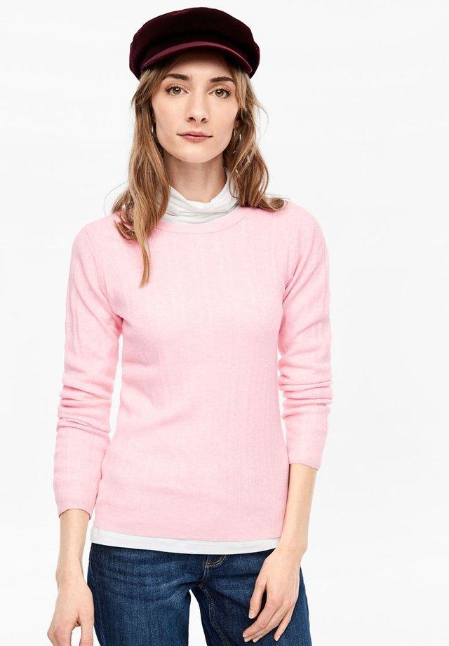 MIT RIPPSTRUKTUR - Jumper - mellow pink melange