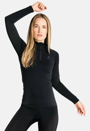 TURTLE NECK HALF ZIP PERFORMA - Long sleeved top - black