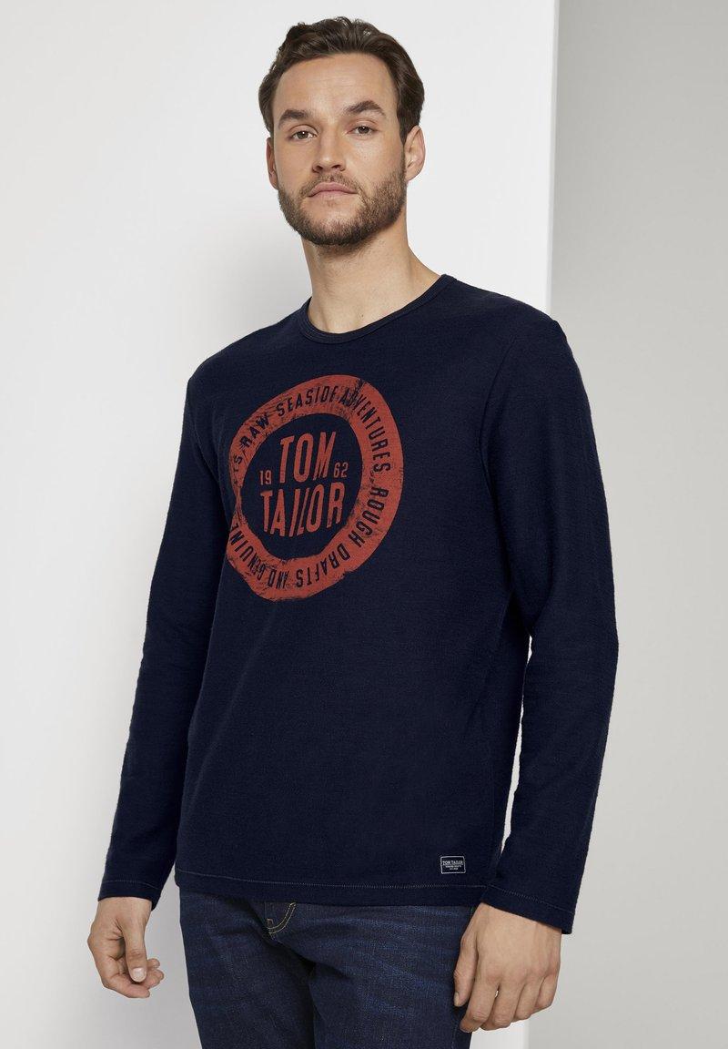 TOM TAILOR - MIT LOGO-PRINT - Long sleeved top - dark blue