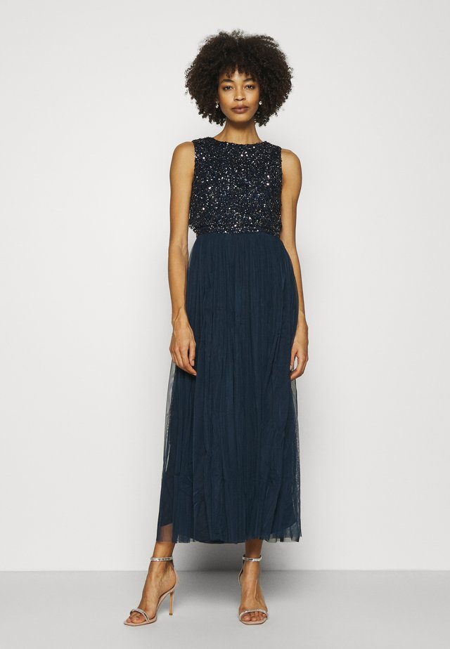 OVERLAY DELICATE SEQUIN DRESS - Robe de soirée - navy