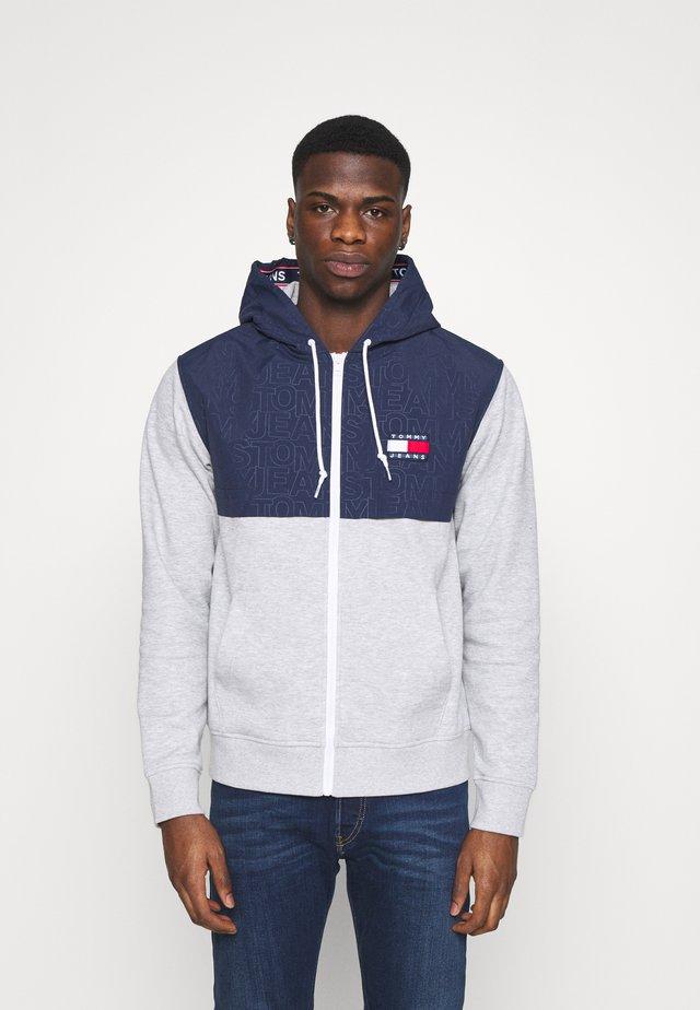 CONTRAST ZIP HOODIE - veste en sweat zippée - grey