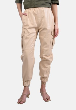 CARGO - Leather trousers - beige