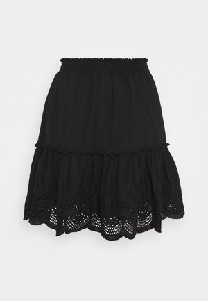 CUT WORK TIERED MINI SKIRT - Minisukně - black