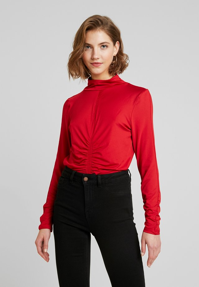 HIGH NECK RUCHED DETAIL - Long sleeved top - fuchsia
