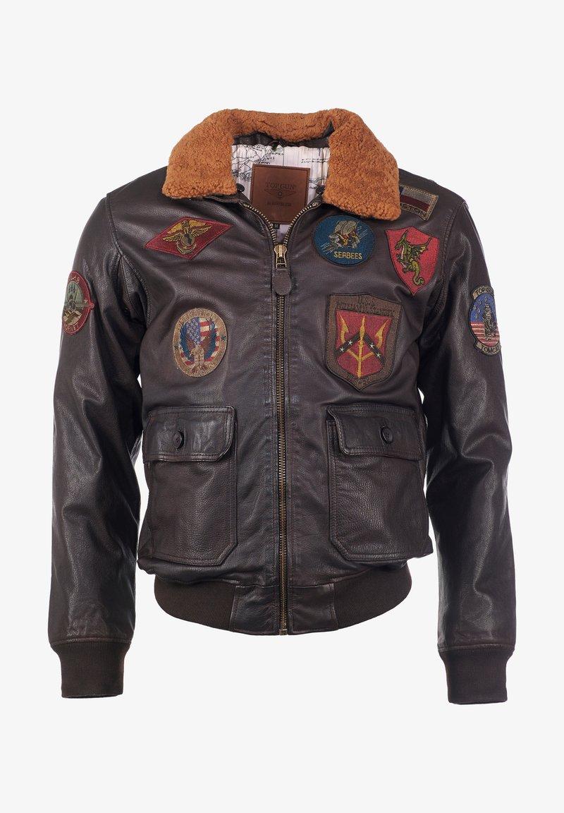 TOP GUN - Leather jacket - braun