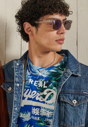 T-shirt print - brush palm blue