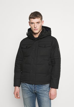 REMOVABLE HOODED BOMBER - Talvitakki - black
