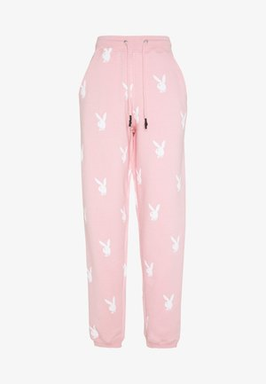 PLAYBOY JOGGERS - Tracksuit bottoms - pink/white