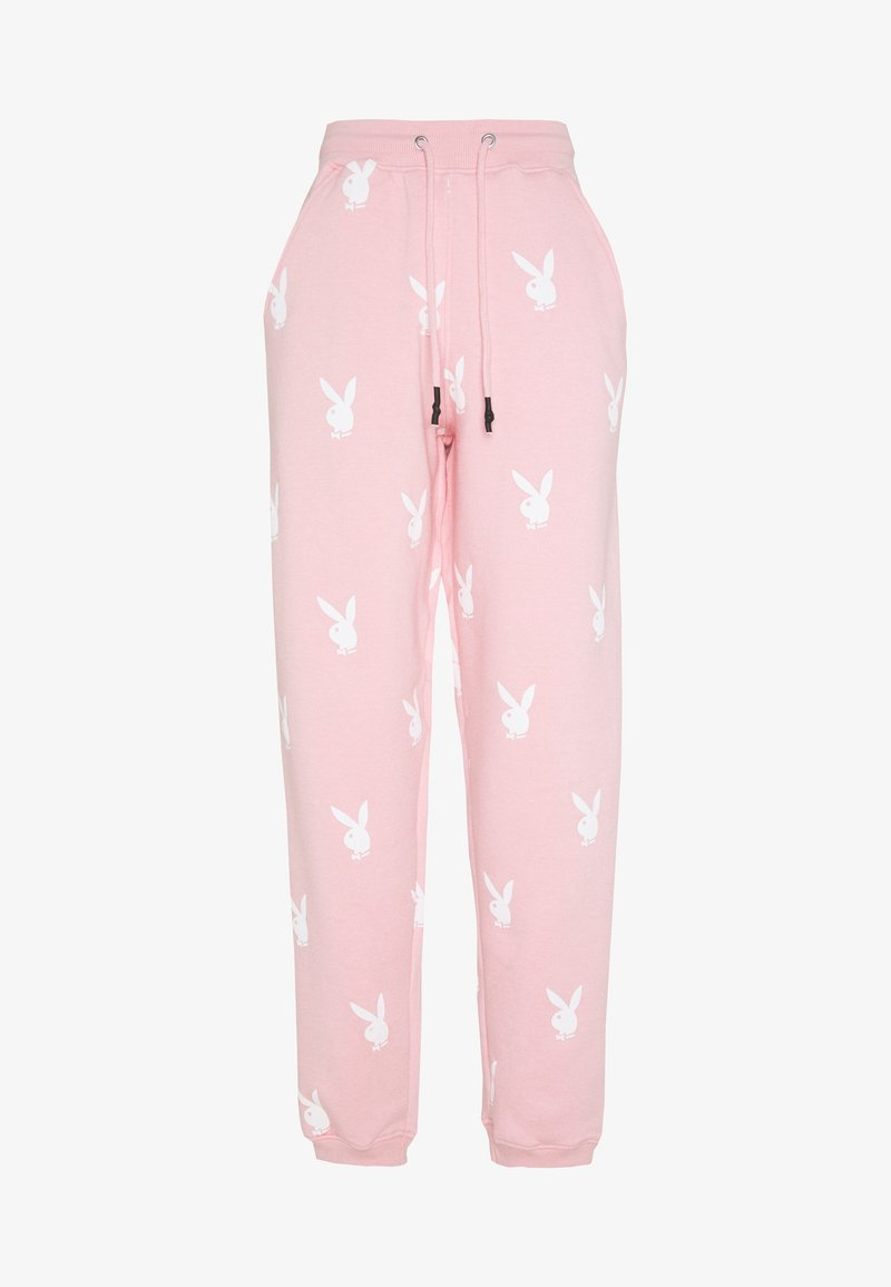 Missguided - PLAYBOY JOGGERS - Pantalones deportivos - pink/white