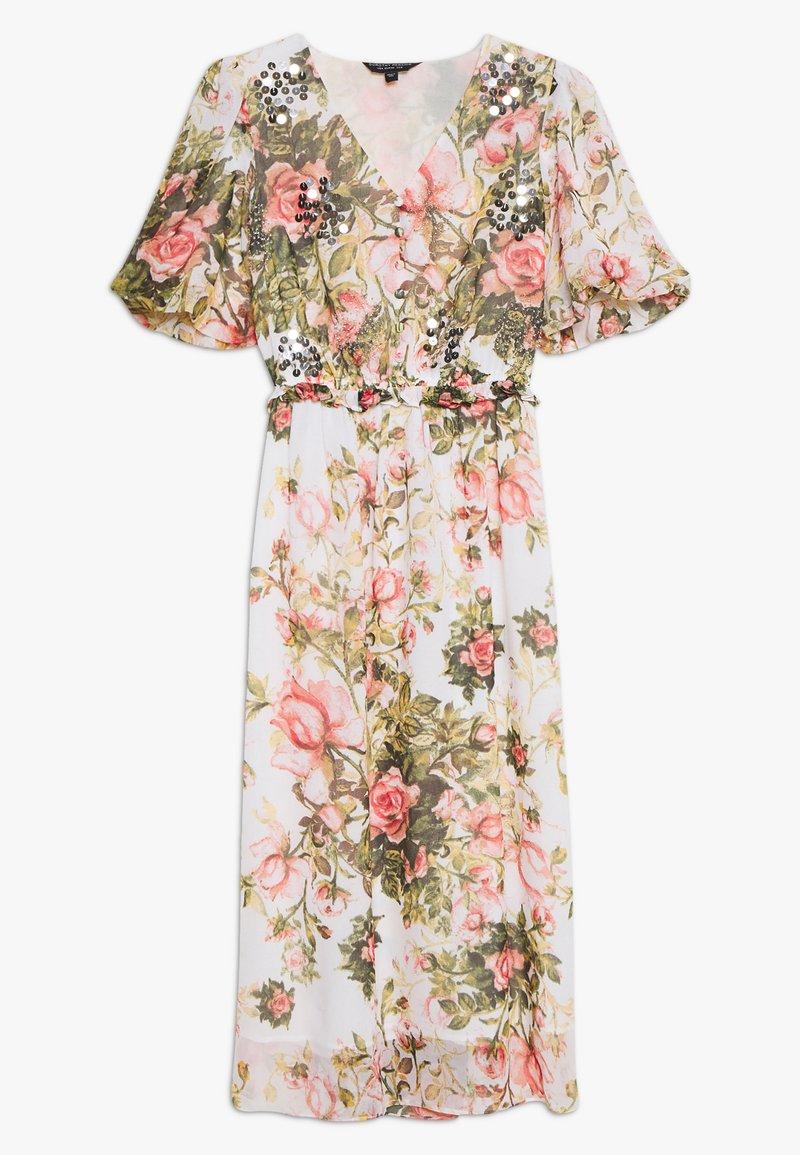 Dorothy Perkins - FLORAL PRINT SEQUIN MIDAXI DRESS - Vestito estivo - blush
