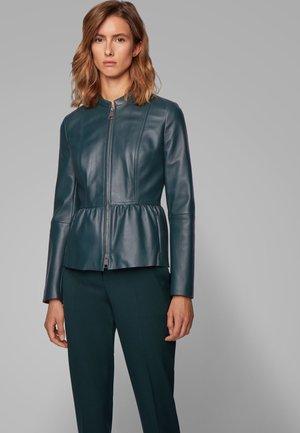 SATEUR - Leather jacket - dark green