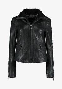 DNR Jackets - MIT REIßVERSCHLUSS UND KONTRASTFUTTER - Leather jacket - black - 0