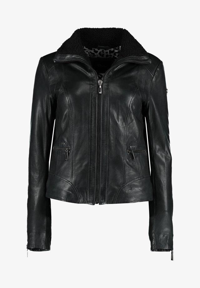 MIT REIßVERSCHLUSS UND KONTRASTFUTTER - Leather jacket - black