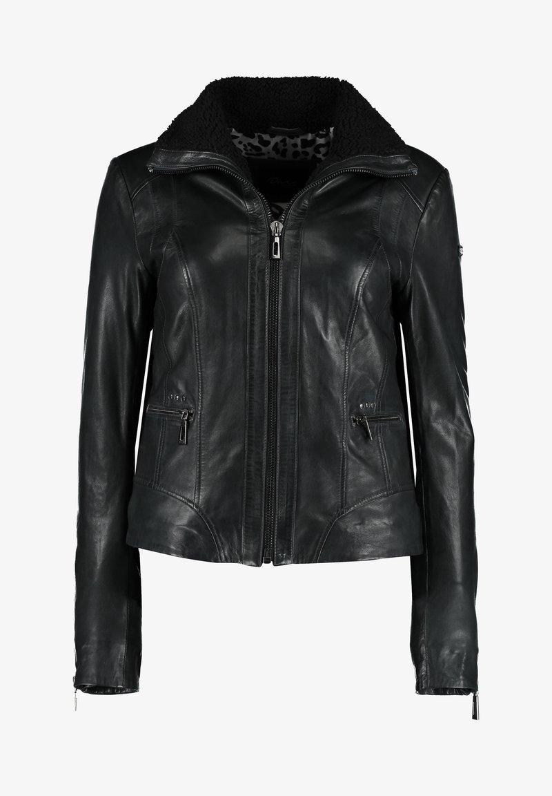 DNR Jackets - MIT REIßVERSCHLUSS UND KONTRASTFUTTER - Leather jacket - black