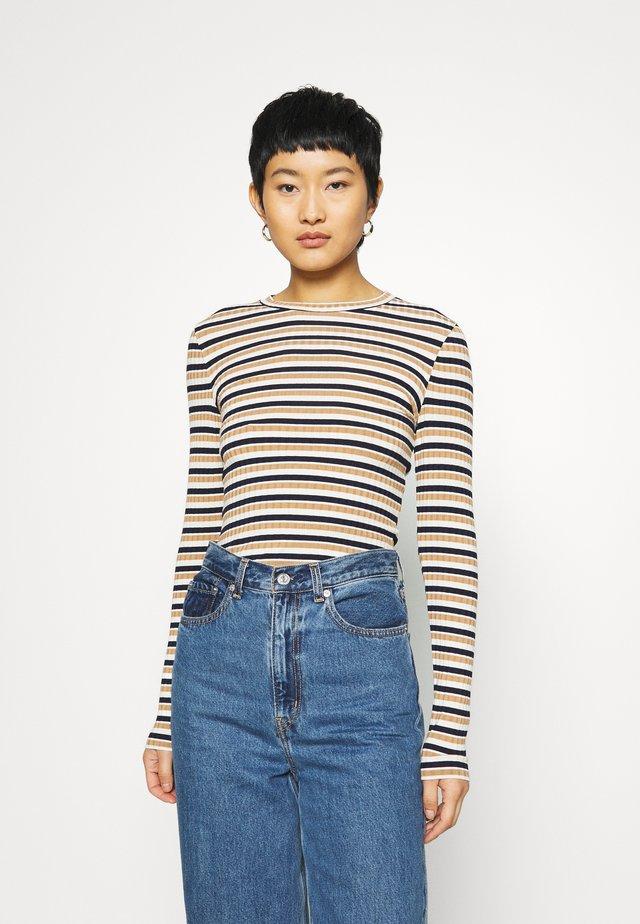 STRIPE - T-shirt à manches longues - navy/beige/ecru