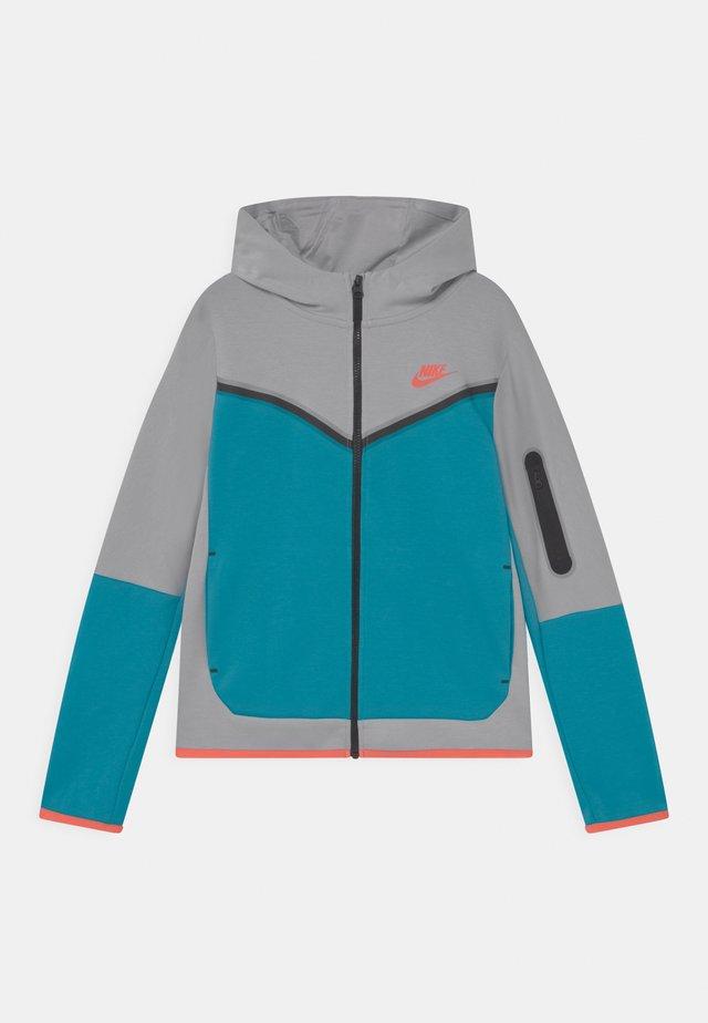 Sweater met rits - wolf grey/aquamarine