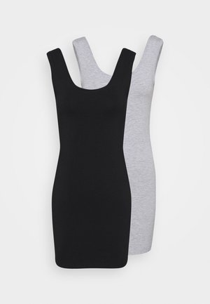 2 PACK - Shift dress - black /  mottled light grey