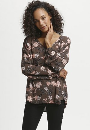 Blouse - brown dusty red flower
