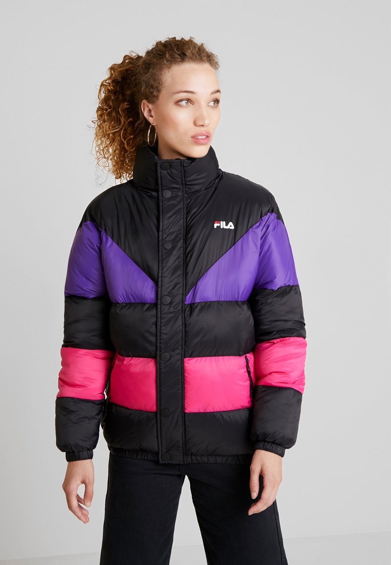 Fila - REILLY PUFF JACKET - Winter jacket - black/tillandsia purple/pink yarrow