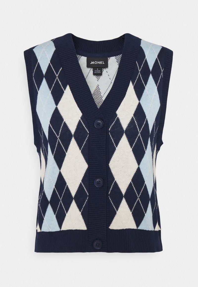 Monki - MAJA VEST - Waistcoat - navy/blue/offwhite