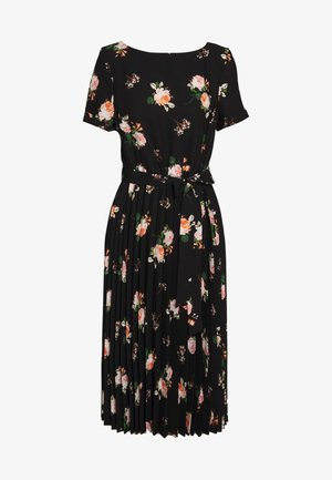 FLORAL SLEEVE KEYHOLE PLEATED MIDI DRESS - Kjole - black