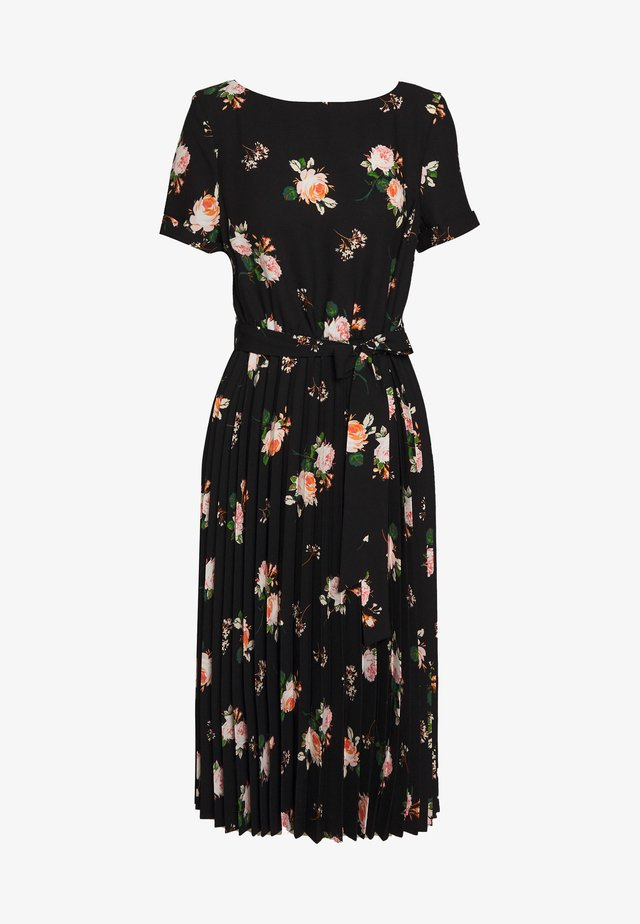 FLORAL SLEEVE KEYHOLE PLEATED MIDI DRESS - Day dress - black