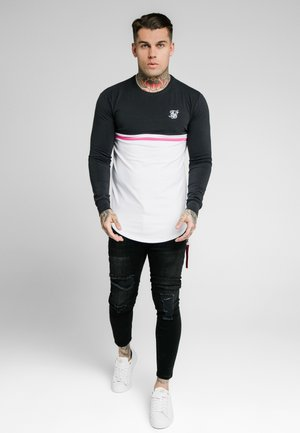 RETRO STRIPE TEE - Long sleeved top - grey/pink/white