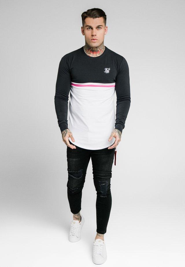 RETRO STRIPE TEE - Long sleeved top - grey/pink/white