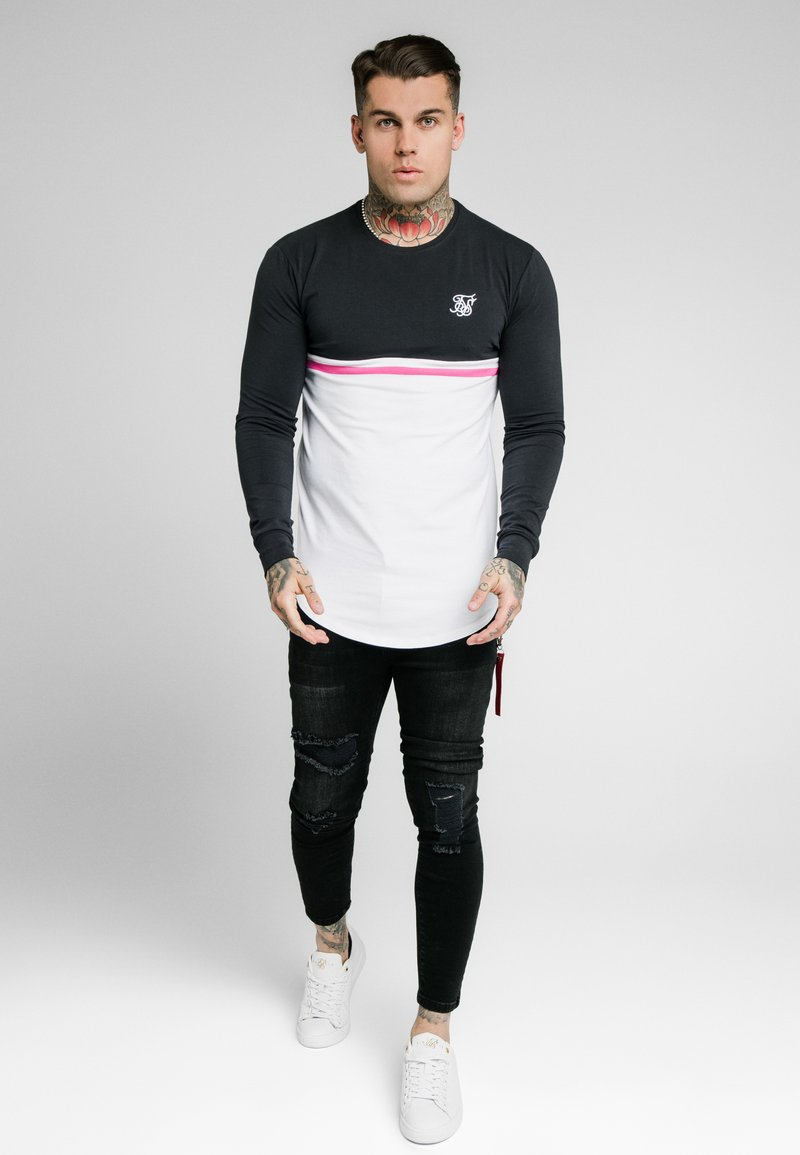 SIKSILK - RETRO STRIPE TEE - Top sdlouhým rukávem - grey/pink/white