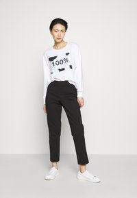 DKNY - STRAIGHT LEG PANT SIDE ZIP - Trousers - black - 1