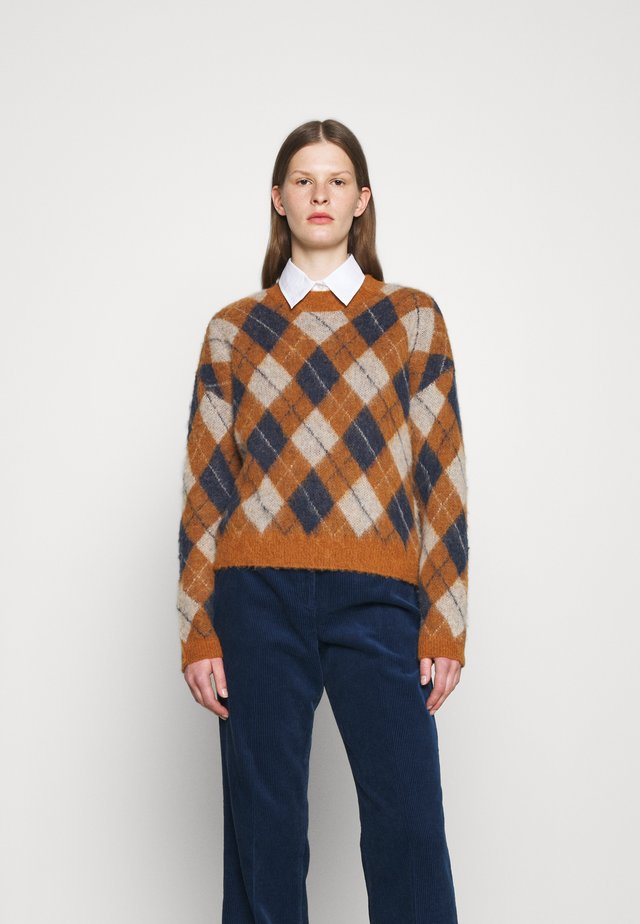 ARGYLE JUMPER - Strickpullover - tan/navy/off white