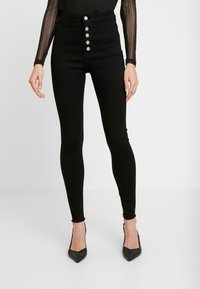 Missguided - VICE BUTTON UP - Skinny džíny - black - 0