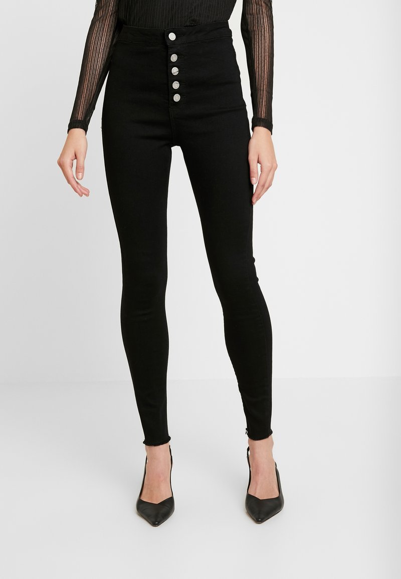 Missguided - VICE BUTTON UP - Skinny džíny - black