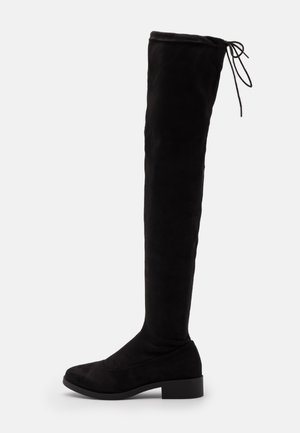 OLIVIA HIGH LEG FLAT - Over-the-knee boots - black