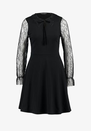 DETAIL FIT and FLARE - Jersey dress - black