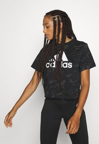 adidas Performance - Print T-shirt - black/white - 0