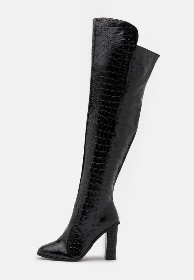 WIDE FIT CYNTHIA - Overknee laarzen - black