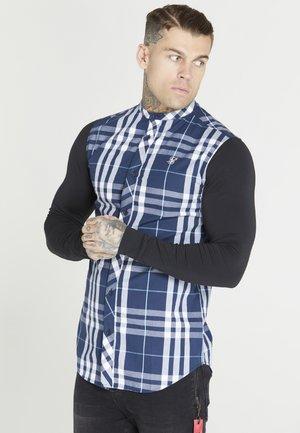 CHECK GRANDAD SHIRT - Skjorta - black/navy/white
