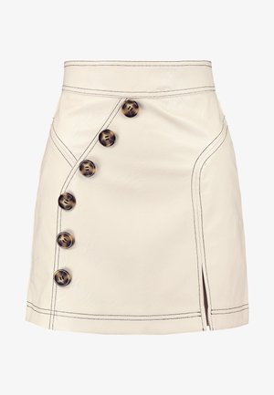 TOPSTITCH BUTTON MINI - A-line skirt - cream