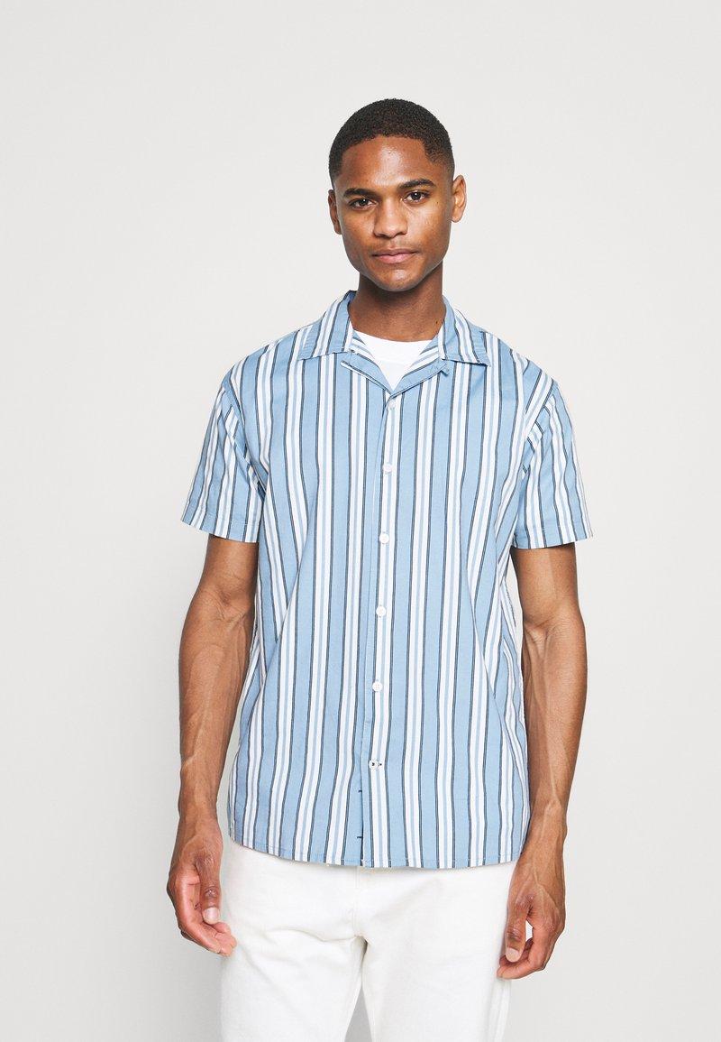 Kronstadt - CUBA PRINTED STRIPE SHIRT - Shirt - light blue