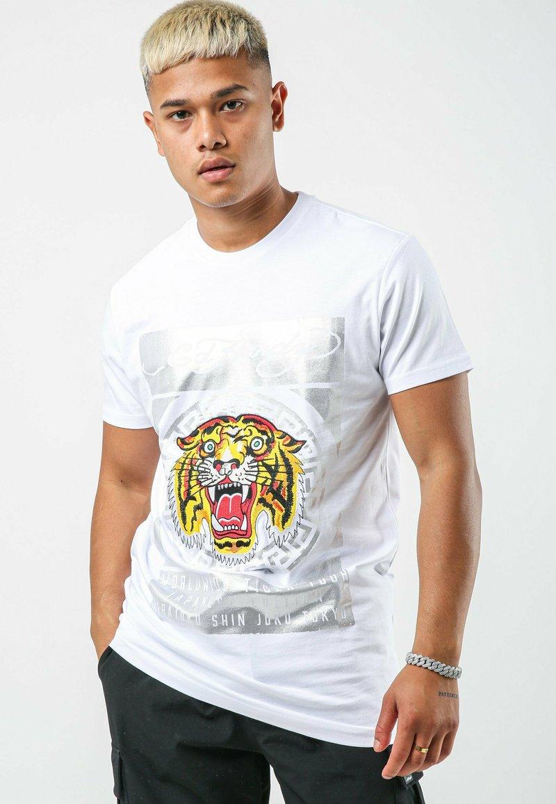 Ed Hardy - TILE-ROAR T-SHIRT - Print T-shirt - white