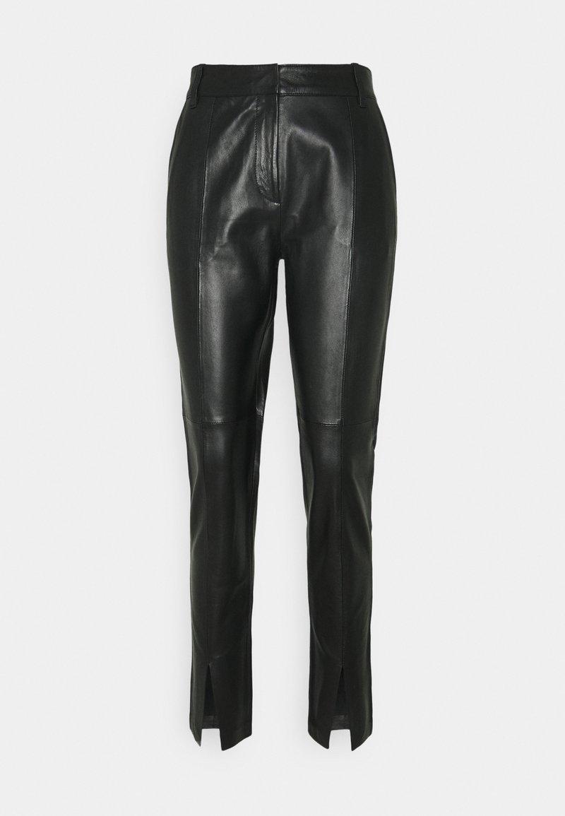 Bruuns Bazaar - PETRAH TILLY PANT - Leather trousers - black