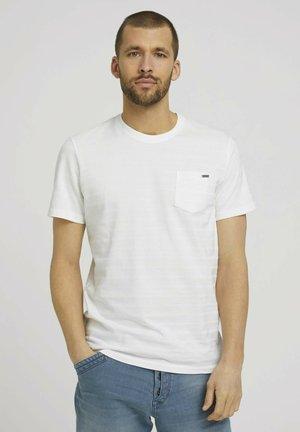MIT STRUKTURSTREIFEN - Basic T-shirt - off white