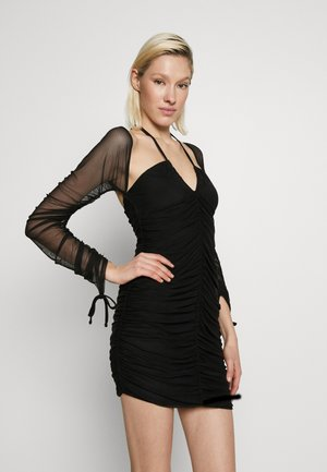 BARDOT TIE FRONT RUCHED MINI DRESS - Denní šaty - black