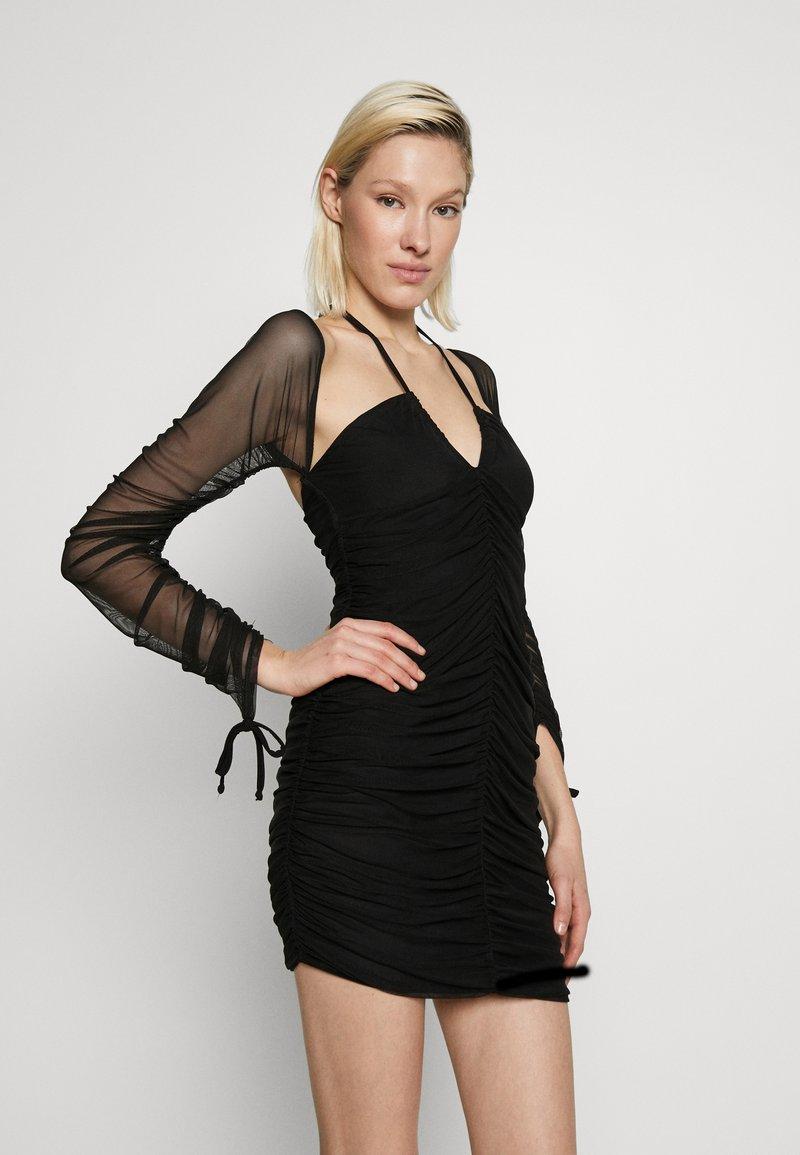 Club L London - BARDOT TIE FRONT RUCHED MINI DRESS - Day dress - black