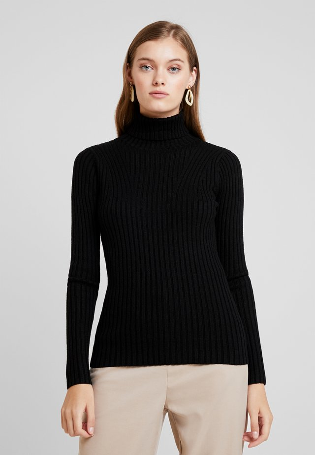 ERICA SLIM ROLL NECK - Pullover - black