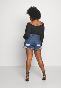Missguided Plus - EXTREME FRAY HEM RIOT - Shorts di jeans - indigo - 2