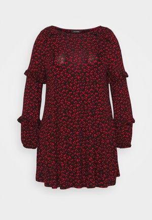 RED HEART PRINT SWING DRESS - Žerzejové šaty - black