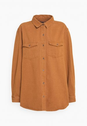 OVERSIZED DENIM SHIRT - Košile - camel