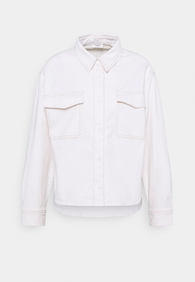 CROPPED LONGSLEEVE - Button-down blouse - multi/off-white cotton